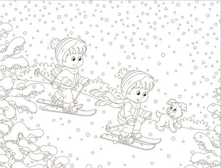 Small children skiing down a snow hill in a snow-covered winter park, black and white outline vector illustration in a cartoon style for a coloring book Illustration