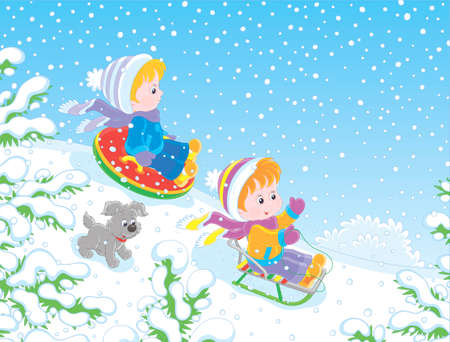 Small children sledding down a snow hill in a snow-covered winter park, vector illustration in a cartoon style