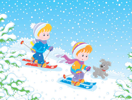 Small children skiing down a snow hill in a snow-covered winter park, vector illustration in a cartoon style