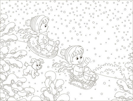 Small children sledding down a snow hill in a snow-covered winter park, black and white vector illustration in a cartoon style for a coloring book