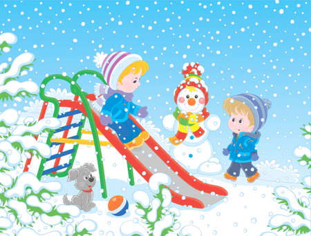 Kids playing on a toy slide on a snow-covered playground in a winter park, vector illustration in a cartoon style Illustration