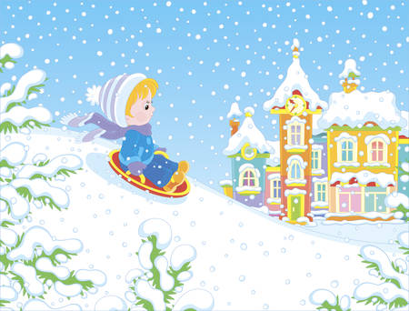 Small child sledding down a snow hill on a playground in a winter park of a town, vector illustration in a cartoon style