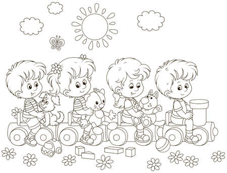 Small children playing on a toy train on a playground in a park, black and white vector illustration in a cartoon style for a coloring book Vector Illustration