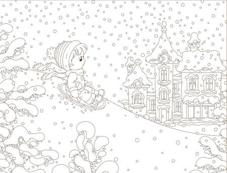 Small child sledding down a snow hill on a playground in a winter park of a town, black and white vector illustration in a cartoon style for a coloring book