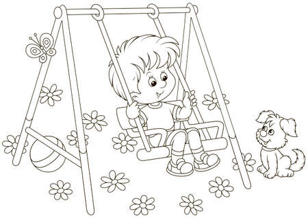 Smiling boy on a toy swing on a playground in a park, black and white vector illustration in a cartoon style for a coloring book Vetores