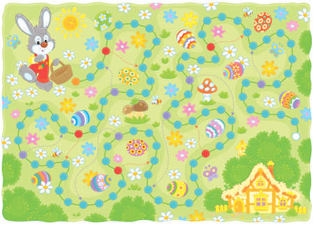 Easter egg hunt printable board game. Little Bunny with a small basket collecting colorfully painted eggs among flowers on the way home. Vector illustration in a cartoon style for kids Illustration
