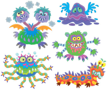 Collection of funny and terrible toy monsters, vector illustrations in a cartoon style