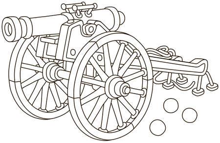 Alte Piratenpistole mit gusseisernen Kanonenkugeln und großen Holzrädern, schwarz-weiße Vektorgrafik im Cartoon-Stil für ein Malbuch Vektorgrafik