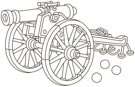 Old pirate gun with cast-iron cannonballs and big wooden wheels, black and white vector illustration in a cartoon style for a coloring book