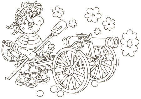 Sea pirate gunner shooting from an old ship cannon, black and white vector illustration in a cartoon style for a coloring book