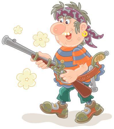 Sea pirate attacking and shooting with an old musket and a pistol, vector illustration in a cartoon style