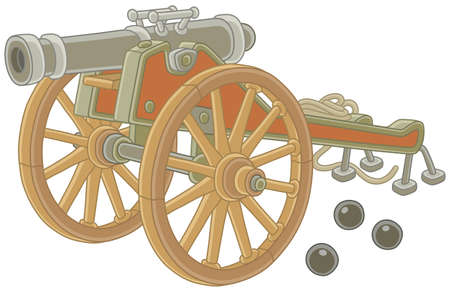 Old pirate gun with cast-iron cannonballs and big wooden wheels, vector illustration in a cartoon style