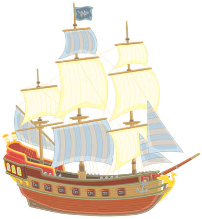 Old sea pirate sailing ship with guns and a black flag of Jolly Roger with bones on a main mast, vector illustration in a cartoon style