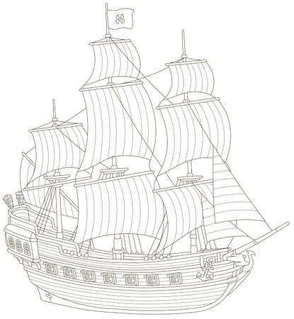 Old sea pirate sailing ship with guns and a flag of Jolly Roger with bones on a main mast, black and white vector illustration in a cartoon style for a coloring book Illustration
