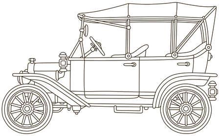 Divertido coche de época de juguete antiguo, ilustración vectorial en blanco y negro en un estilo de dibujos animados para un libro para colorear Ilustración de vector