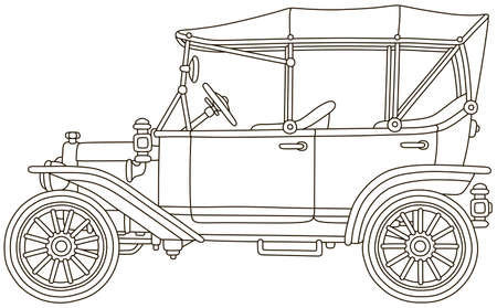 Funny old toy vintage car, black and white vector illustration in a cartoon style for a coloring book