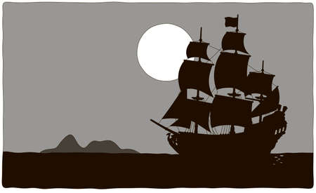 Old sea pirate sailing ship drifting near a treasure island in a tropical sea, black and grey contour vector illustration