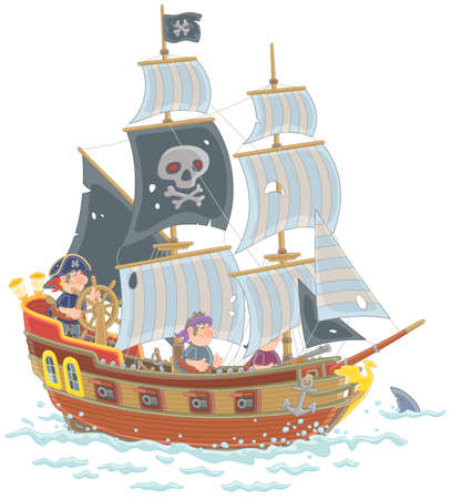 Old sea pirate sailing ship with guns and a black flag of Jolly Roger with bones on a main mast in chase, vector illustration in a cartoon style Vettoriali