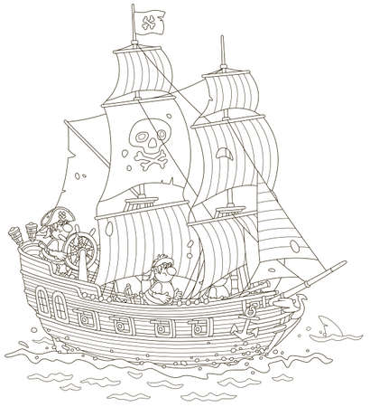 Old sea pirate sailing ship with guns and a flag of Jolly Roger with bones on a main mast in chase, black and white vector illustration in a cartoon style for a coloring book