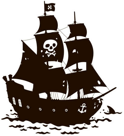 Old sea pirate sailing ship with Jolly Roger on its main mast in a tropical sea, black and white contour vector illustration in a cartoon style