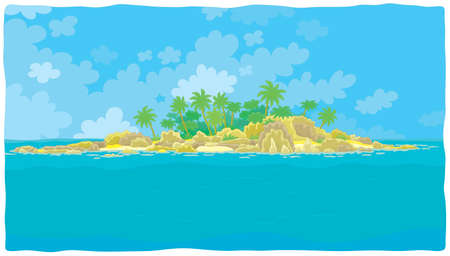 Small desert island with rocks and palms in a tropical sea, vector illustration in a cartoon style