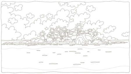 Mała bezludna wyspa ze skałami i palmami w tropikalnym morzu, czarno-biała ilustracja wektorowa w stylu kreskówki do kolorowania