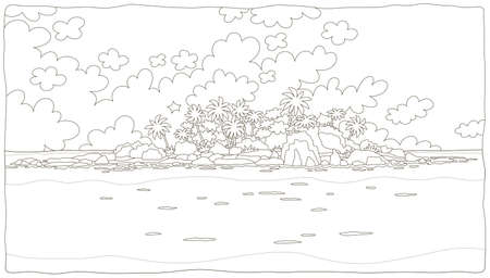 Small desert island with rocks and palms in a tropical sea, black and white vector illustration in a cartoon style for a coloring book Illustration