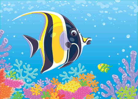 Funny butterfly fish swimming in blue water over amazing colorful corals on a reef in a tropical sea, vector illustration in cartoon style 일러스트