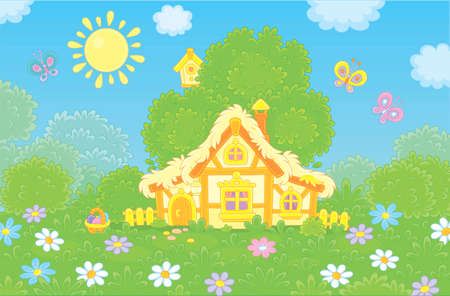 Easter basket near a small thatched hut among flowers and butterflies on a green glade under a big tree on a sunny Easter day, vector illustration in a cartoon style