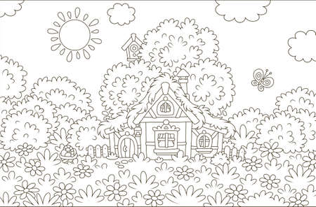Easter basket near a small thatched hut among flowers and butterflies on a glade under a big tree on a sunny Easter day, black and white vector illustration in a cartoon style for a coloring book