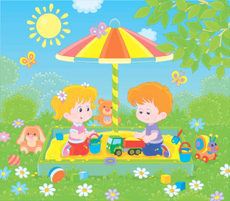 Small children playing in a sandbox on a playground in a park on a sunny summer day, vector illustration in a cartoon style