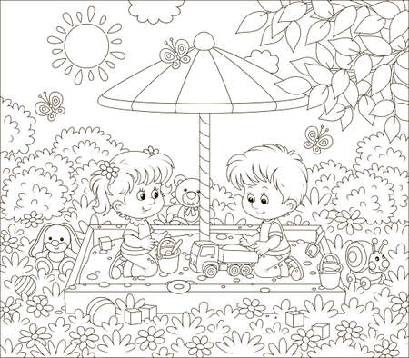 Small children playing in a sandbox on a playground in a park on a sunny summer day, black and white vector illustration in a cartoon style for a coloring book