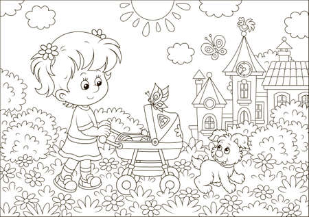 Little girl walking with her toy baby buggy and a small puppy in a park of a town on a sunny summer day, black and white vector illustration in a cartoon style for a coloring book Illustration