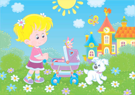 Little girl walking with her toy baby buggy and a small puppy in a park of a town on a sunny summer day, vector illustration in a cartoon style