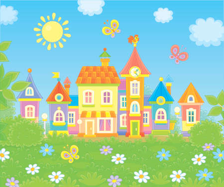 Colorful houses of a small town among green trees, grass and flowers on a sunny summer day, vector illustration in a cartoon style