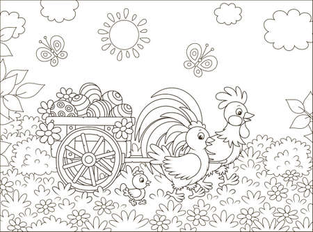 Small wooden cart with painted Easter eggs pulled by a rooster with a hen and their little chick, black and white vector illustration in a cartoon style for a coloring book Çizim