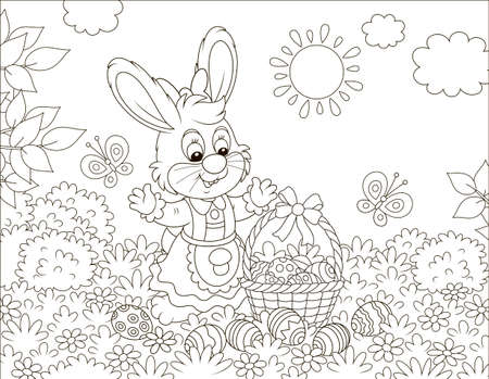 Little Easter bunny with a decorated basket and colorfully painted eggs among flowers, black and white vector illustration in a cartoon style for a coloring book