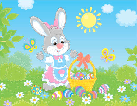 Little Easter bunny with a decorated basket and colorfully painted eggs among flowers, vector illustration in a cartoon style Illustration