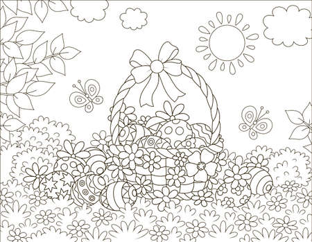 Decorated Easter basket and painted eggs among flowers on a sunny spring day, black and white vector illustration in a cartoon style for a coloring book Illustration