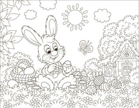 Petit lapin peignant des oeufs de Pâques sur l'herbe parmi les fleurs sur sa pelouse près d'une petite hutte au toit de chaume par une journée de printemps ensoleillée, illustration vectorielle en noir et blanc dans un style dessin animé Vecteurs