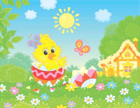 Petit poussin jaune furtivement d'un œuf de Pâques décoré sur l'herbe verte parmi les fleurs sur une pelouse près d'une petite hutte au toit de chaume par une journée de printemps ensoleillée, illustration vectorielle dans un style dessin animé