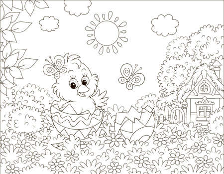 Little Chick peeking out of a decorated Easter egg on grass among flowers on a lawn near a small hut with thatched roof on a sunny spring day, black and white vector illustration in a cartoon style