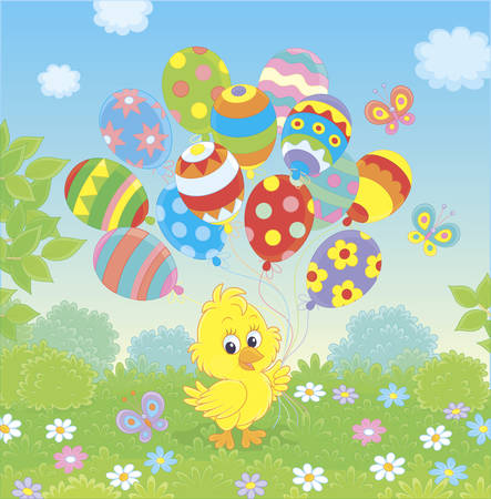 Easter Chick with colorful balloons on a green lawn among flowers on a sunny spring day, vector illustration in a cartoon style 일러스트