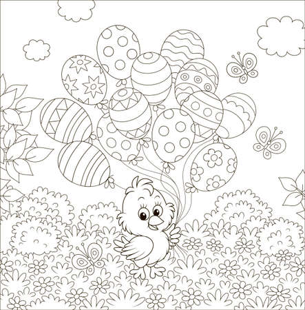 Easter Chick with decorated balloons on a lawn among flowers on a sunny spring day, black and white vector illustration in a cartoon style for a coloring book Illustration