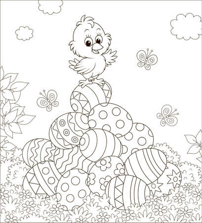Little Easter Chick on a pile of colorfully decorated eggs on a sunny spring day, black and white vector illustration in a cartoon style for a coloring book