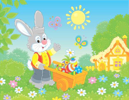 Grey Bunny with a wooden handcart filled with colorfully painted Easter eggs on a lawn in front of a thatched hut on a sunny spring day, vector illustration in a cartoon style