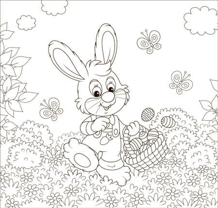 Friendly smiling Easter Bunny with a basket of painted eggs walking among flowers on sunny spring day, black and white vector illustration in a cartoon style for a coloring book