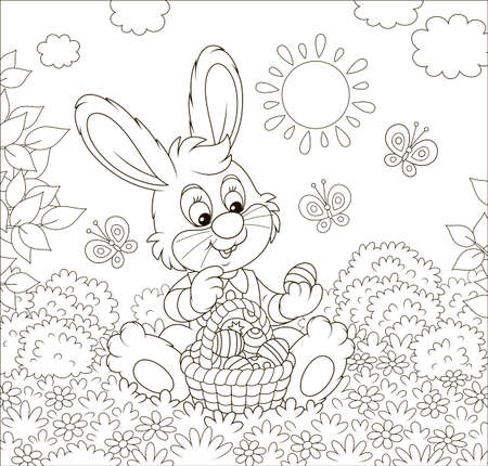 Friendly smiling Easter Bunny with a basket of painted eggs among flowers on sunny spring day, black and white vector illustration in a cartoon style for a coloring book Vector Illustration
