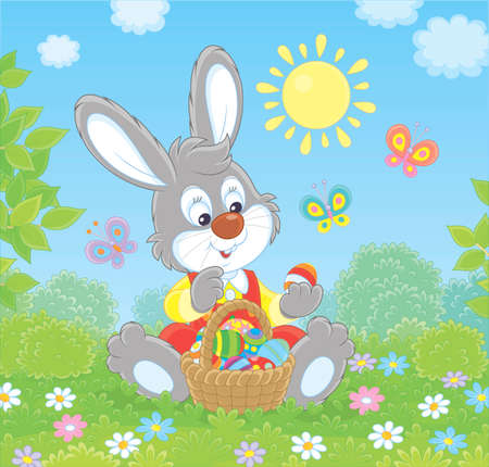 Friendly smiling Easter Bunny with a basket of colorfully painted eggs walking among flowers on green grass on sunny spring day, vector illustration in a cartoon style Illustration