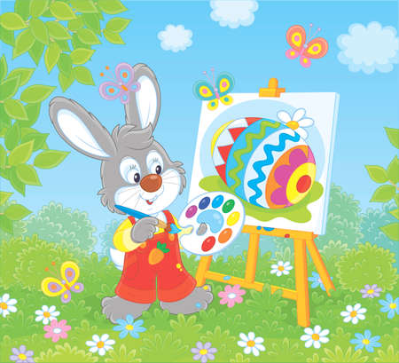 Little Bunny drawing a colorful Easter egg on its canvas on green grass among flowers on a sunny spring day, vector illustration in a cartoon style